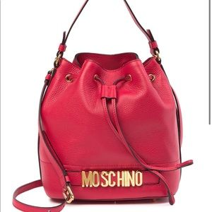 Moschino Red leather drawstring bucket bag